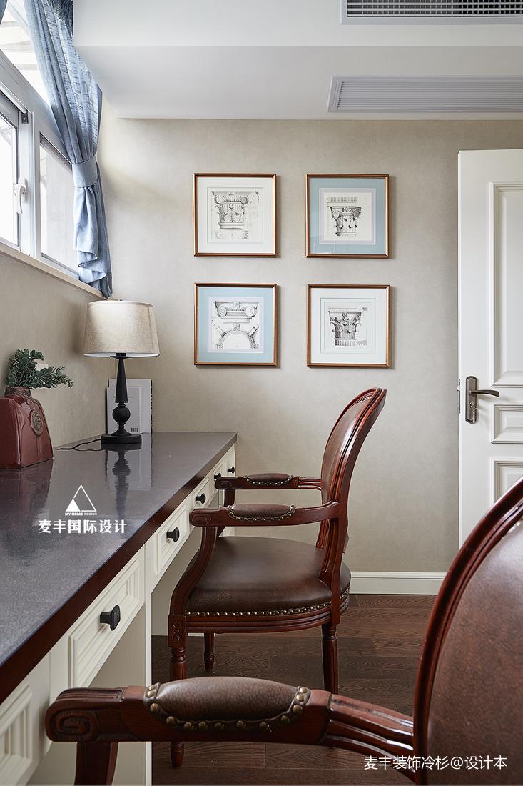 华丽110平美式四居书房设计美图