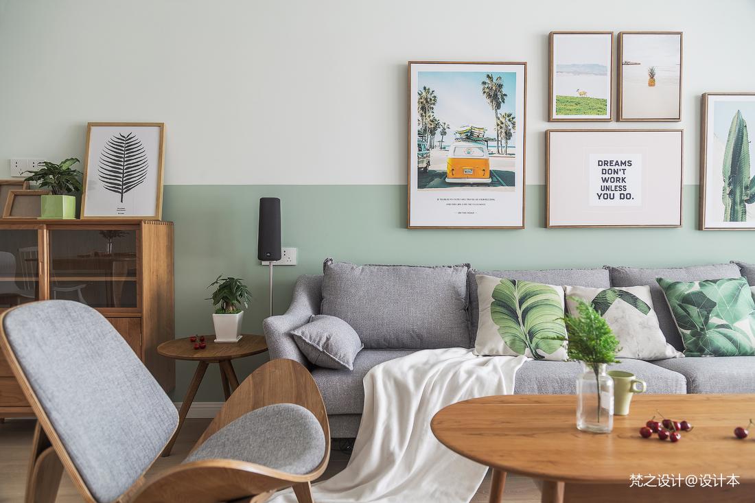 温馨106平北欧三居客厅装修案例
