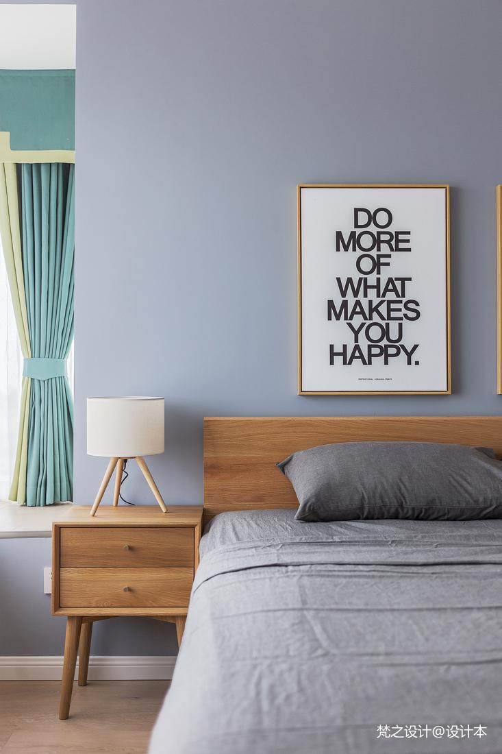 质朴107平北欧三居卧室装饰图