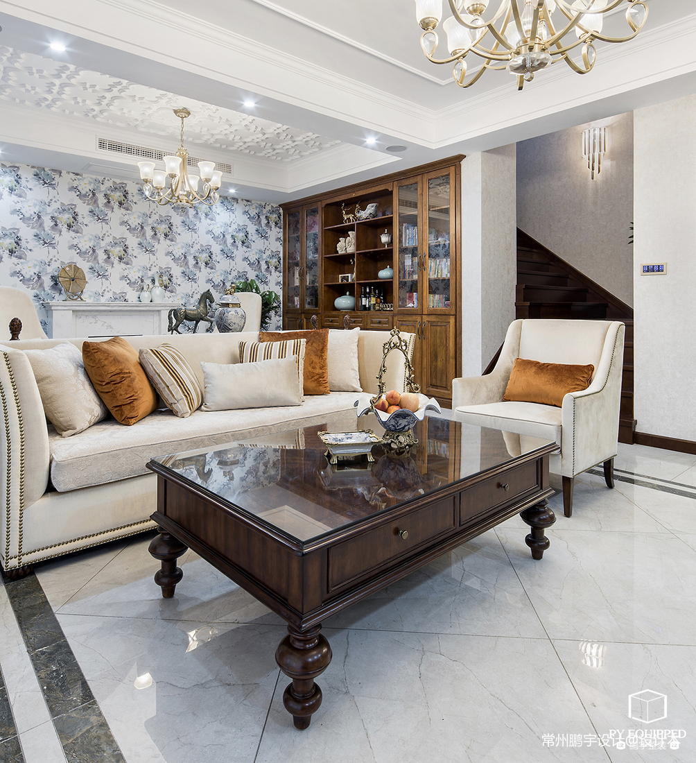 华丽52平美式复式客厅效果图