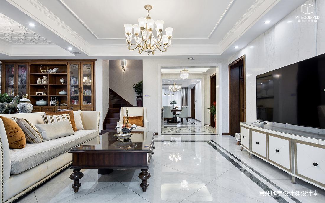 轻奢189平美式复式客厅装饰图片
