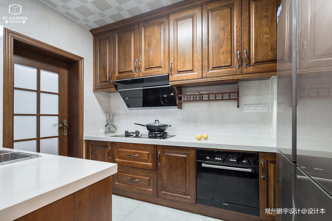 优雅84平美式复式厨房实景图片