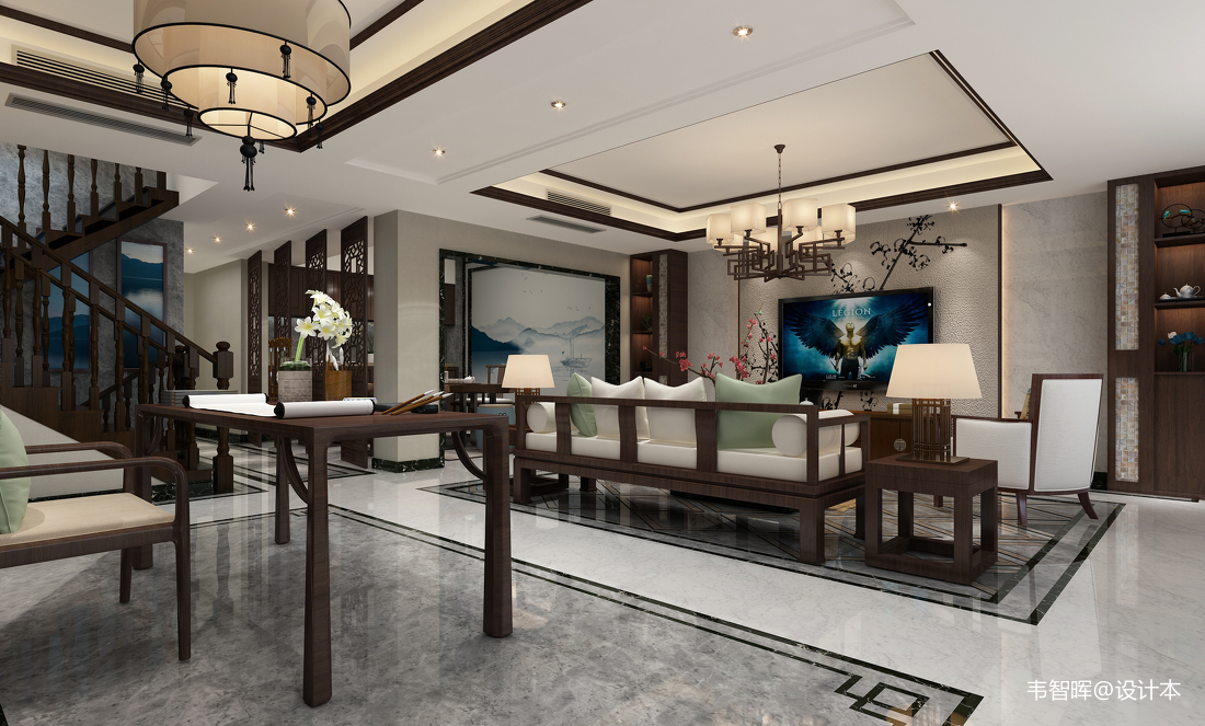 中式客厅简装效果图