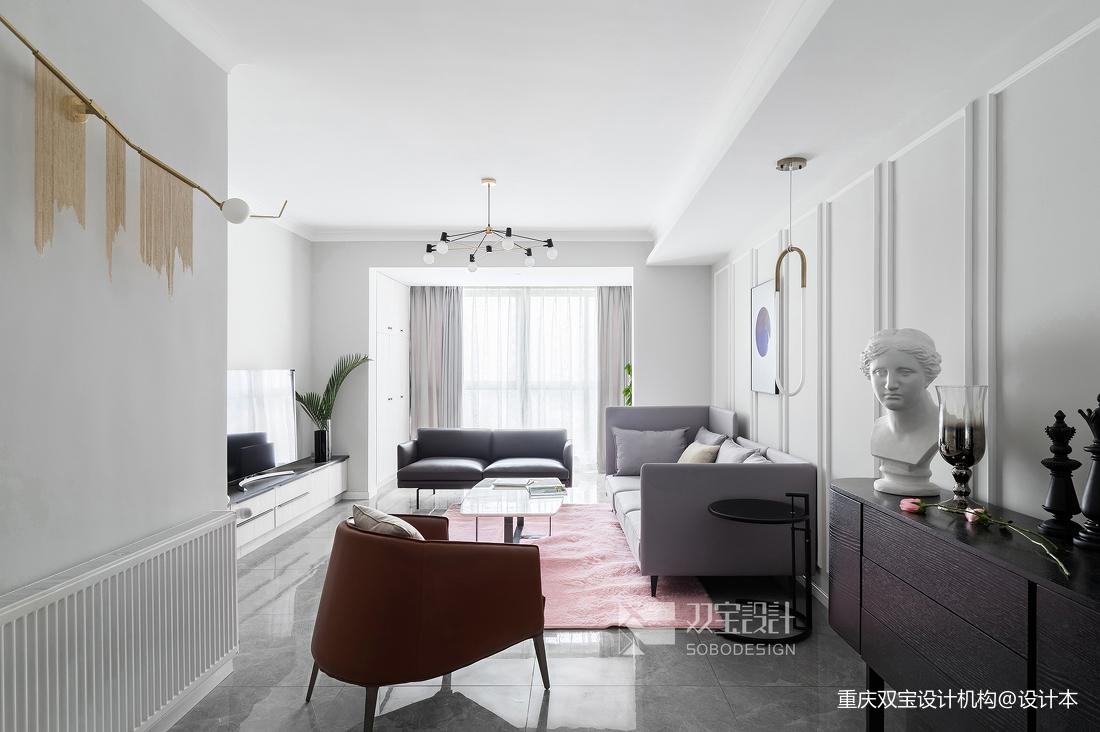 简洁132平法式二居客厅装修效果图