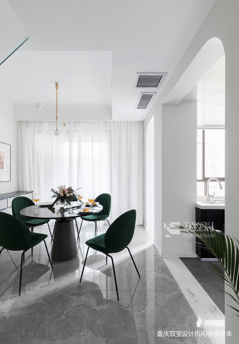 轻奢87平法式二居餐厅装修设计图