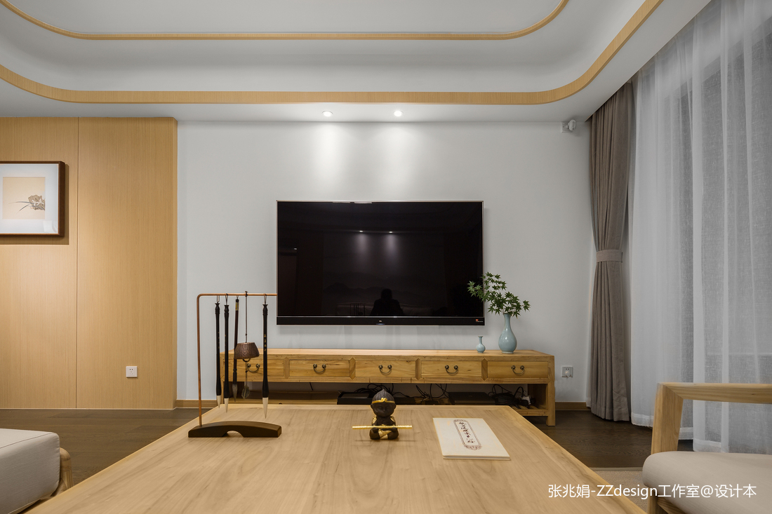 浪漫95平中式四居客厅效果图欣赏
