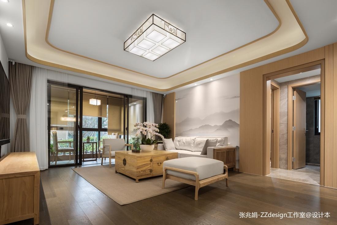 轻奢127平中式四居客厅设计案例