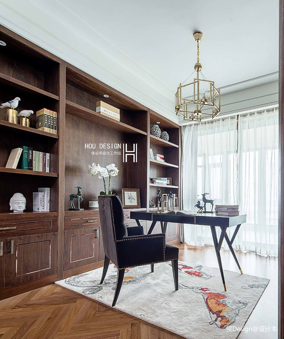 优美92平中式四居书房装饰图片