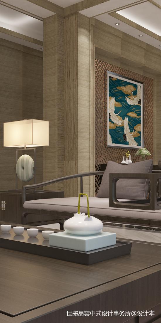 精美57平中式复式客厅装修设计图