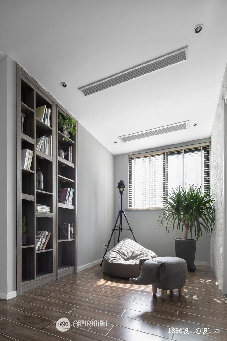 现代休闲区书柜设计实景图