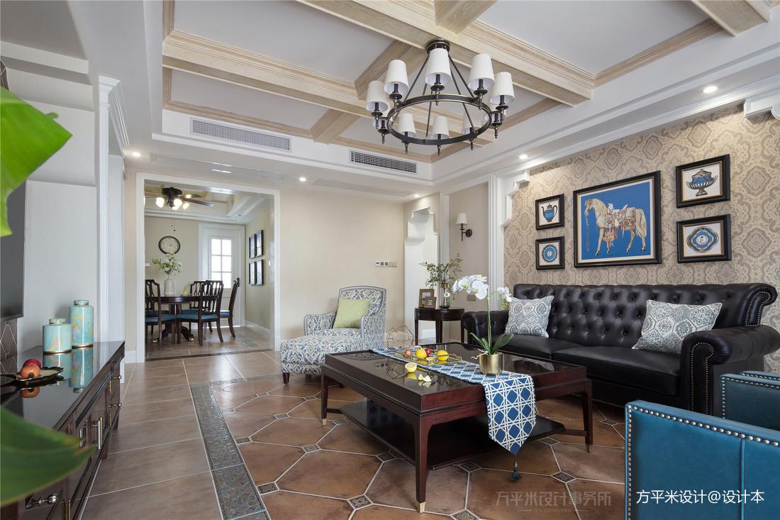 质朴155平美式四居客厅装修效果图