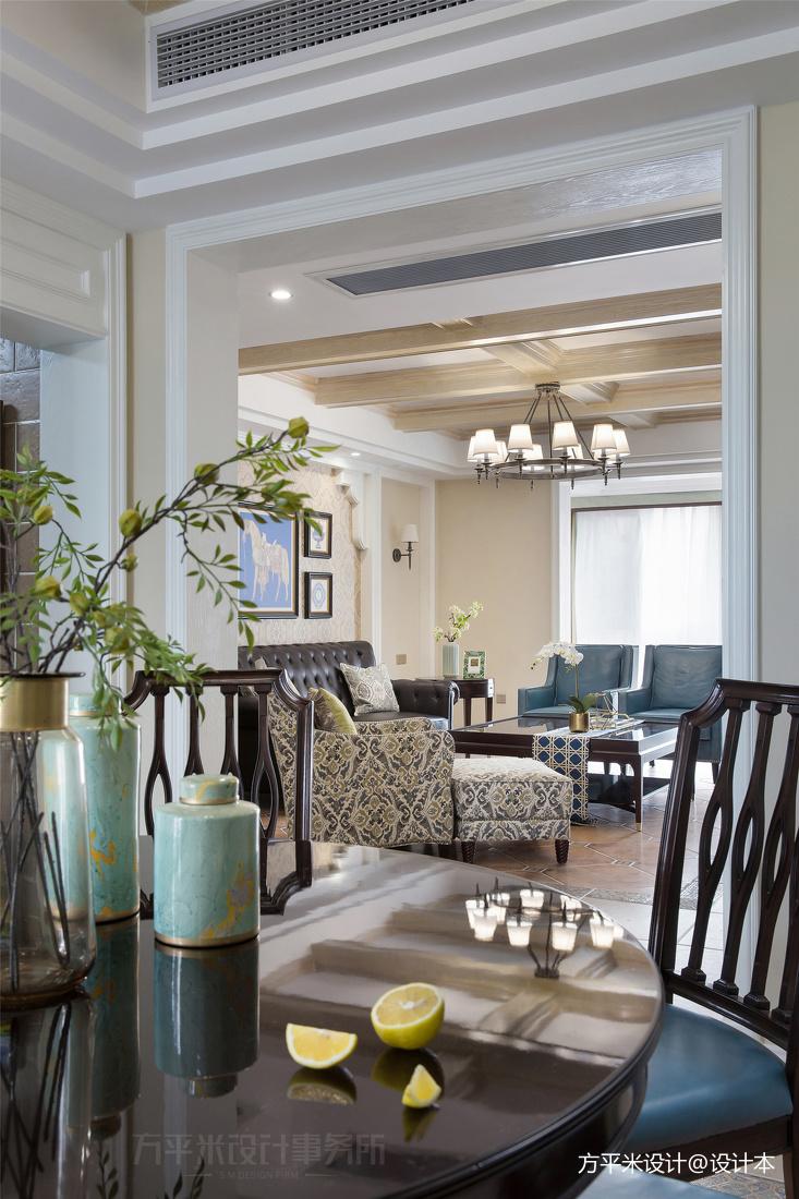 轻奢109平美式四居餐厅装修案例