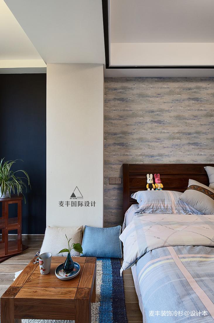 明亮85平中式三居卧室设计案例