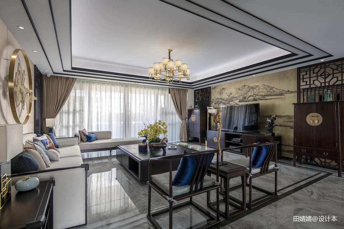 精美面积118平别墅客厅中式装修效果图片
