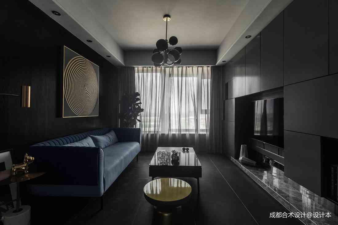 深色调现代风客厅设计