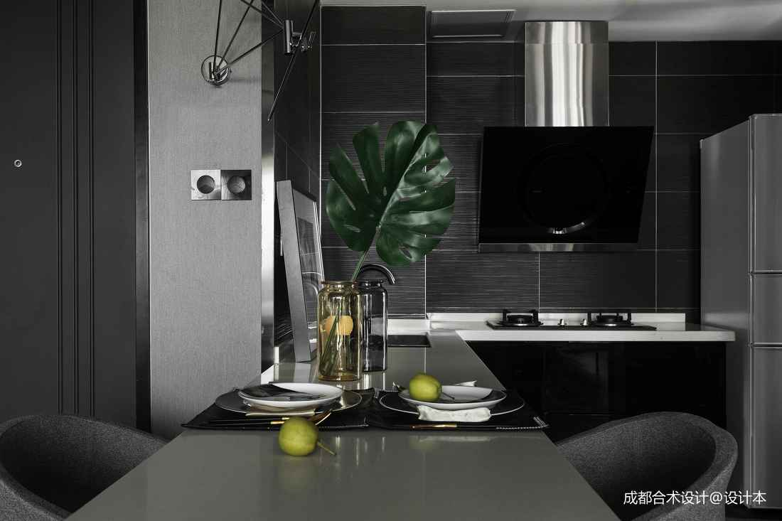 深色调现代风开放式厨房设计
