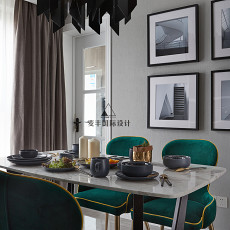 轻奢76平现代三居餐厅实景图