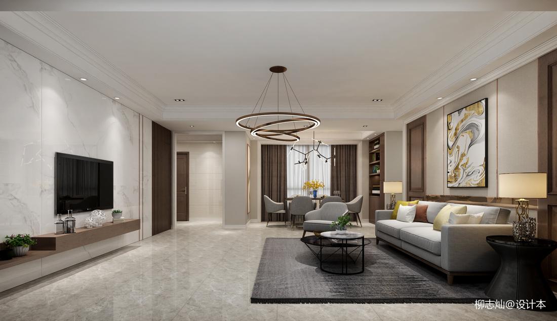 2018精选142平方四居客厅现代装修效果图片欣赏
