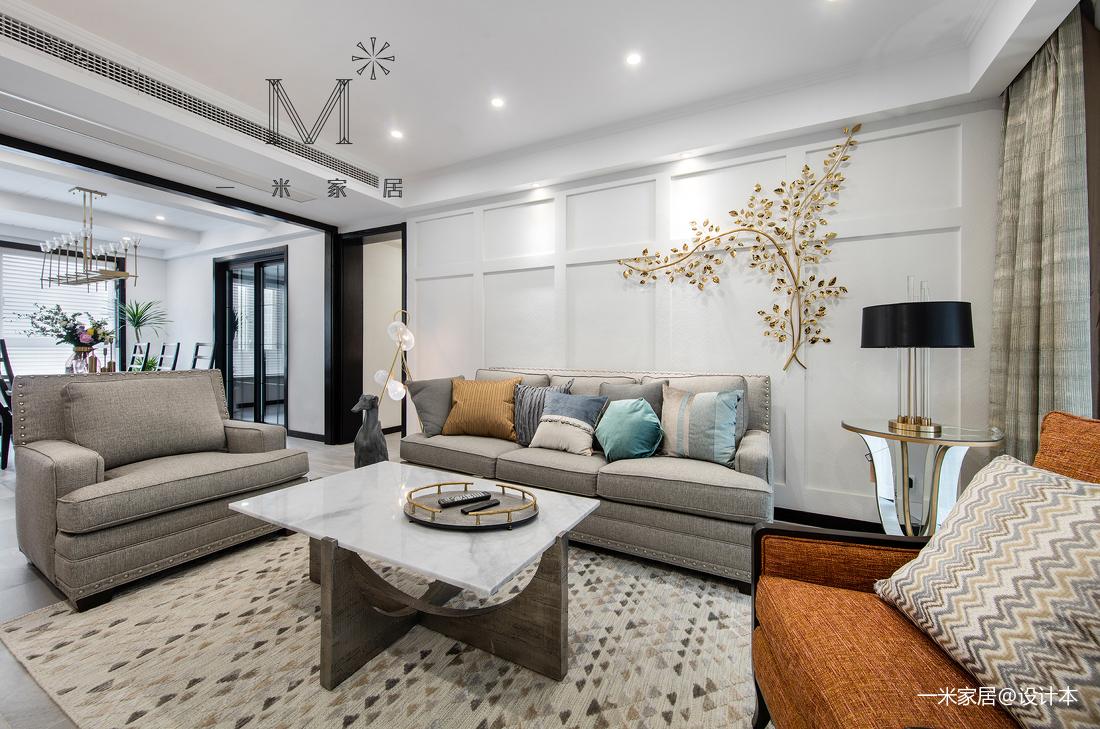 华丽79平美式三居客厅实拍图