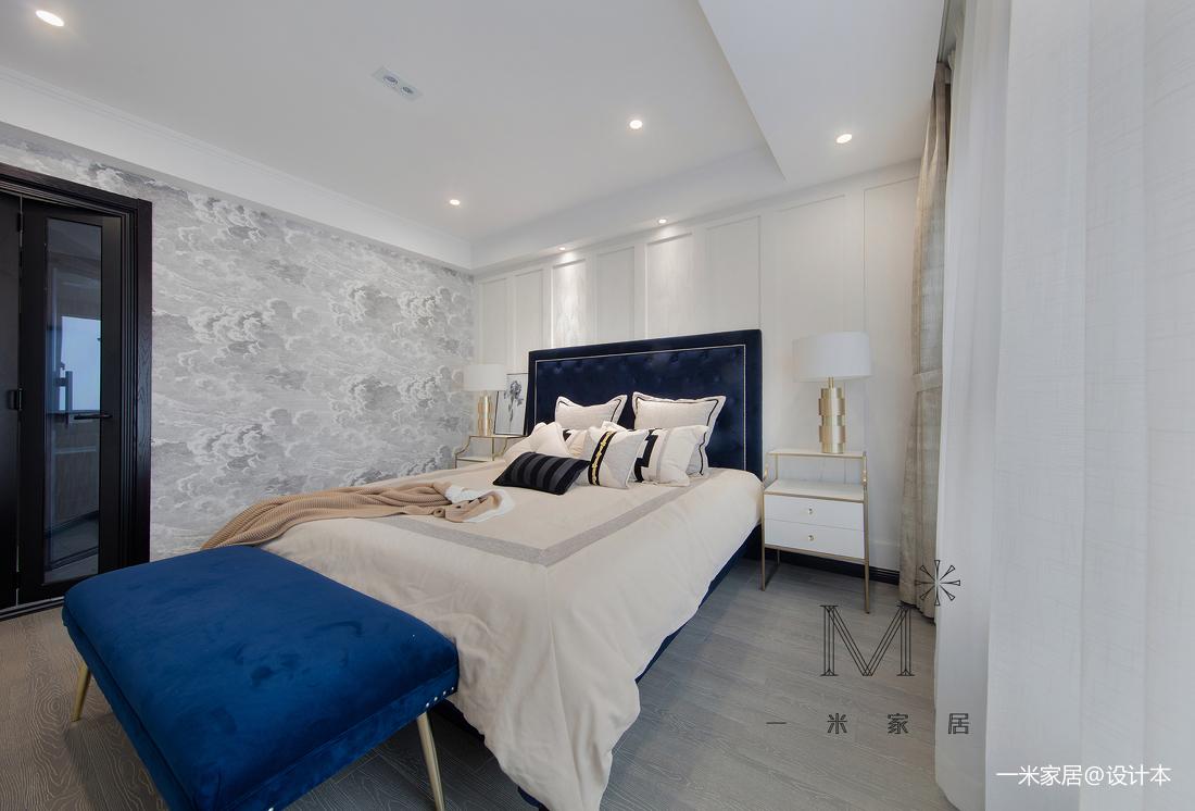 简洁128平美式三居卧室装饰图