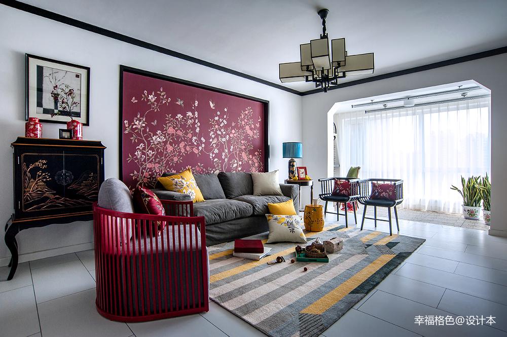 简洁145平中式三居客厅装修设计图