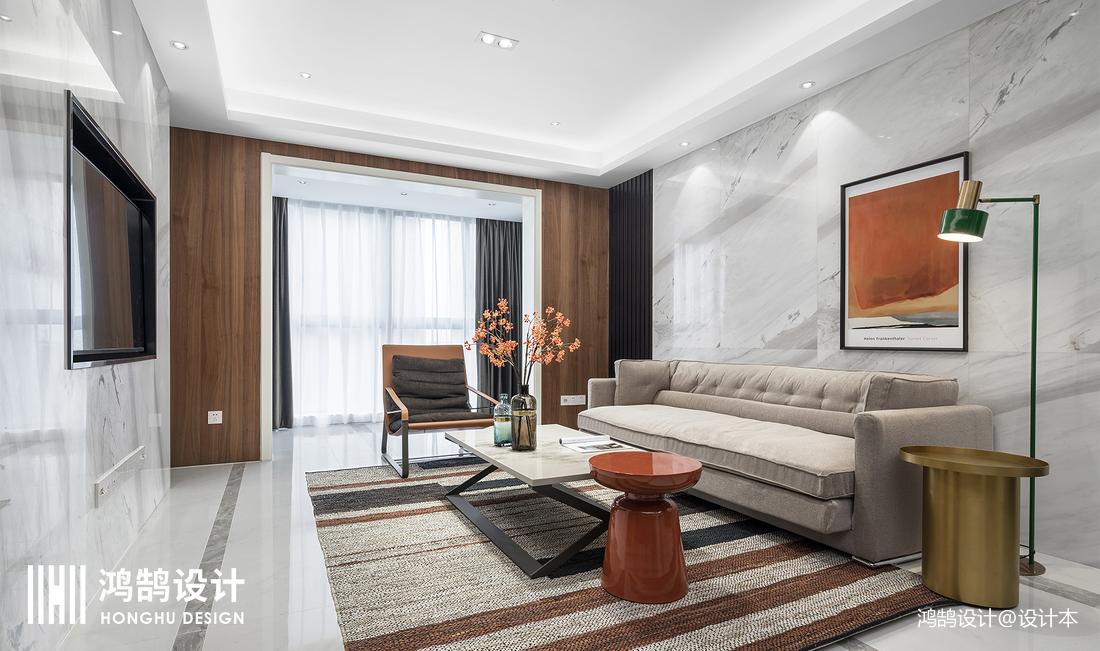 优雅100平现代三居客厅实拍图
