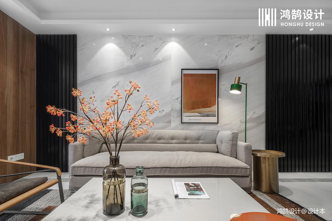 轻奢128平现代三居客厅设计效果图