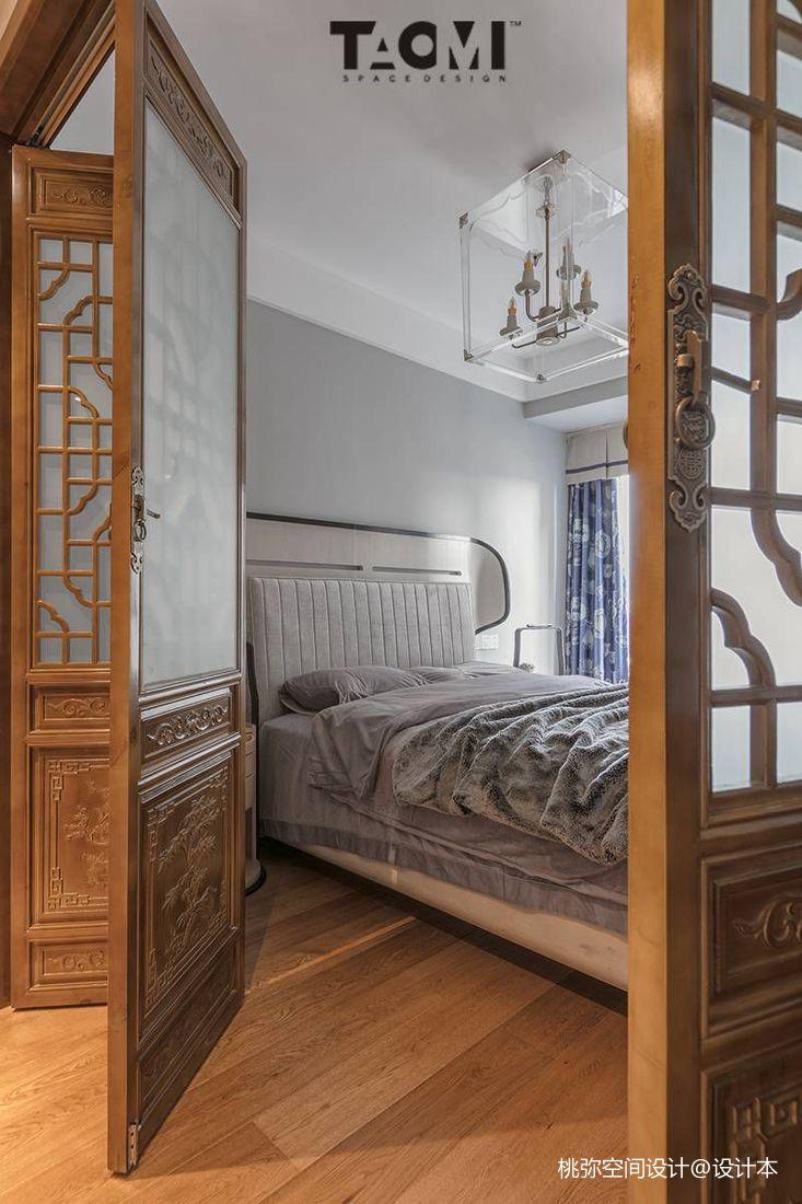 轻奢93平中式四居卧室实景图片