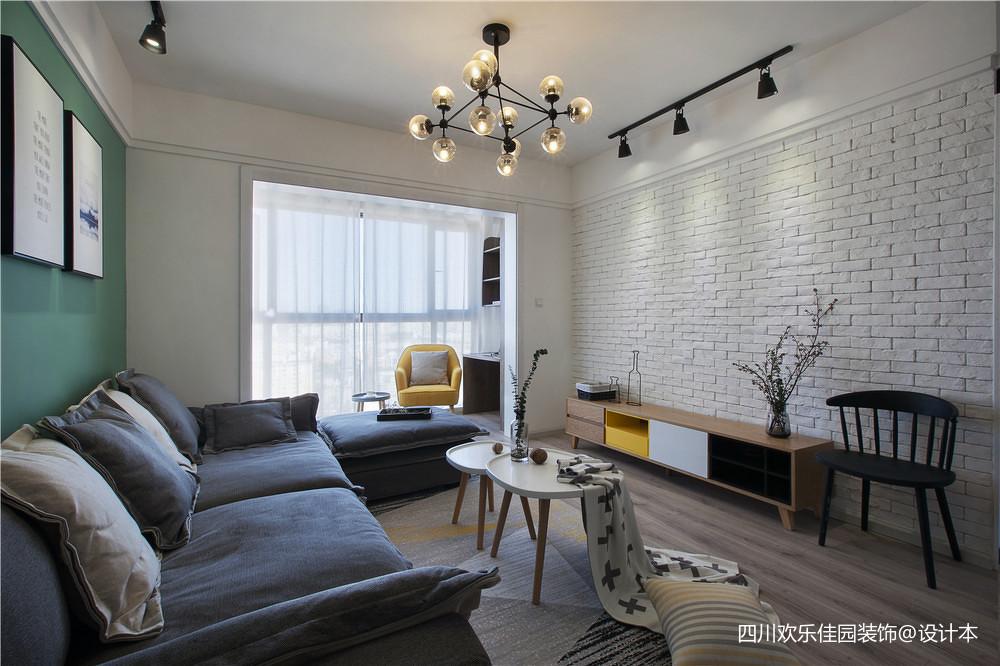 201890平米二居卧室北欧装修实景图