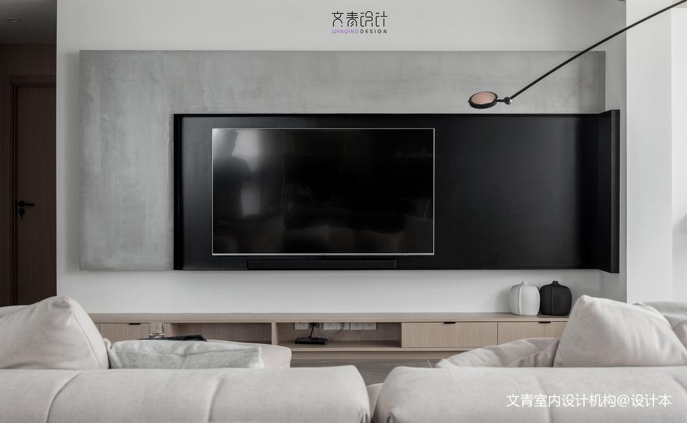 黑白现代三居电视背景墙设计