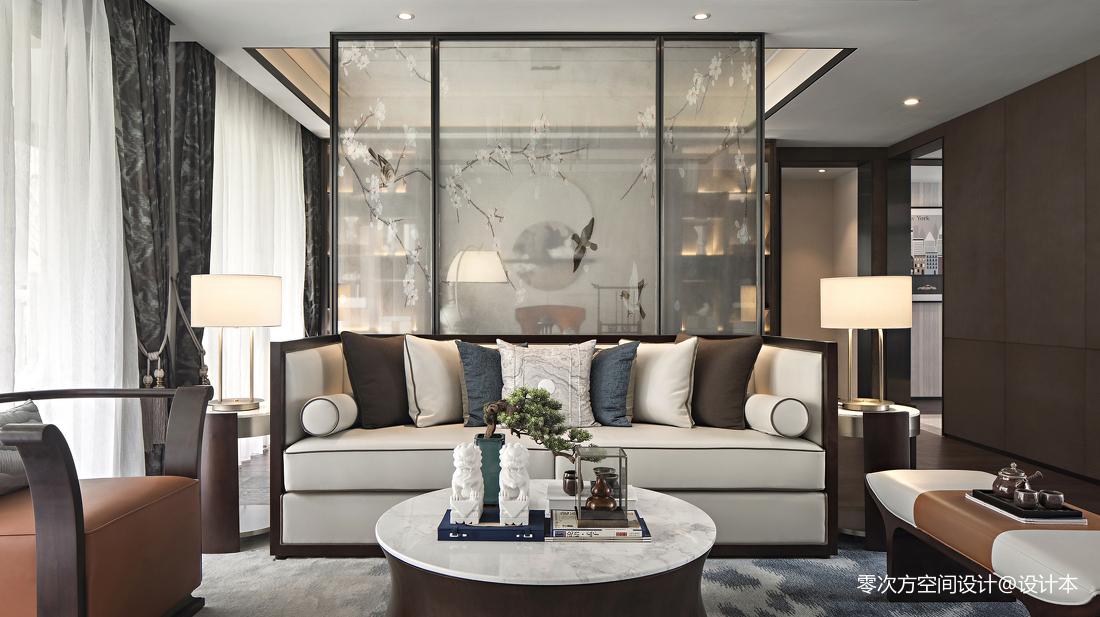 中式样板房沙发背景墙设计