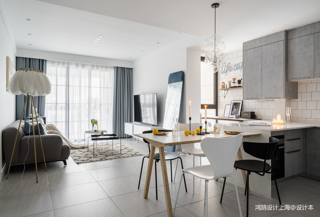 201871平方二居客厅北欧装修实景图片