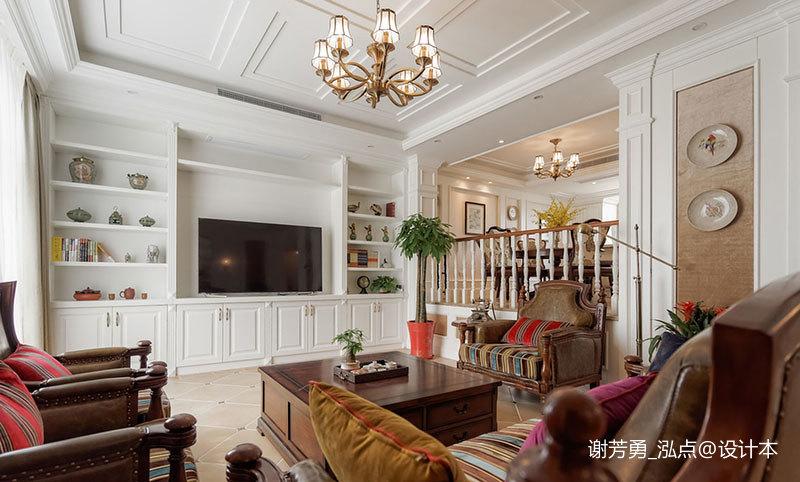 精美419平美式别墅客厅效果图片大全