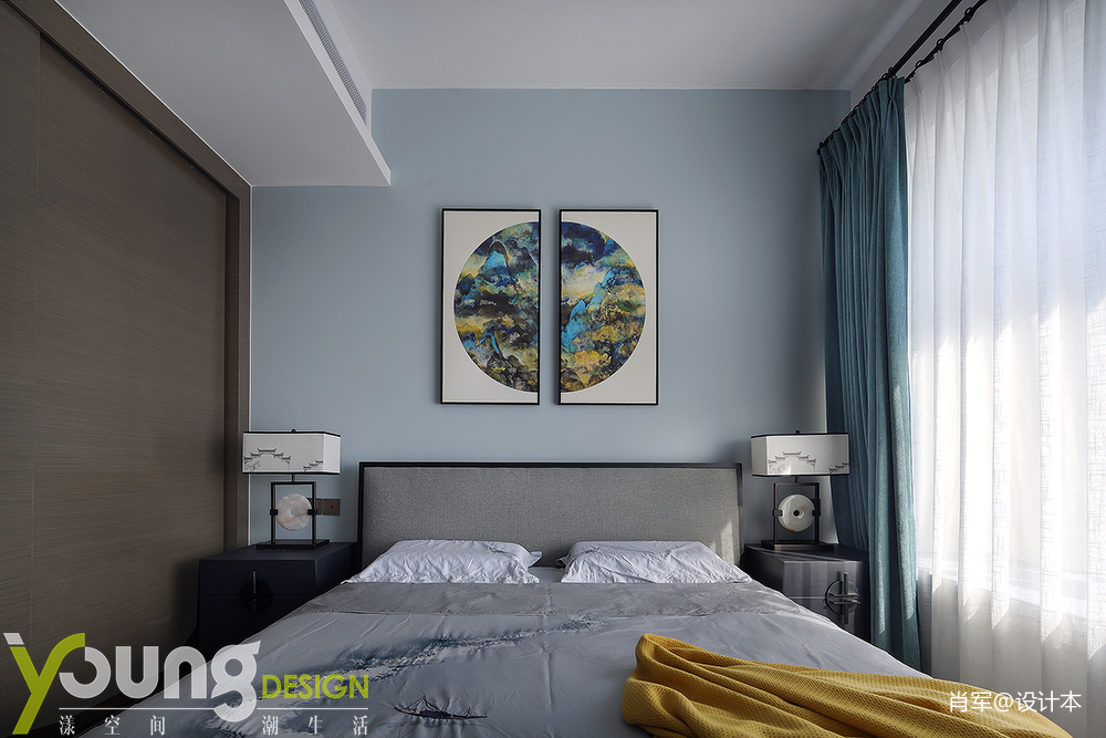 轻奢73平中式三居卧室装修效果图