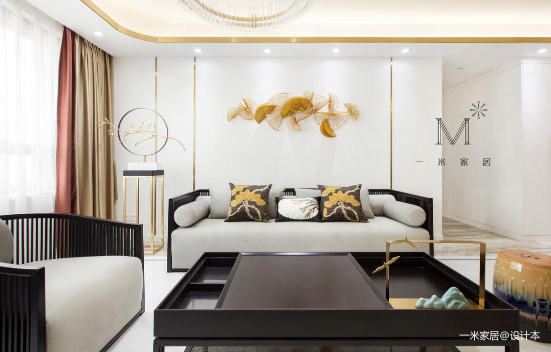 温馨114平中式三居客厅装修图片