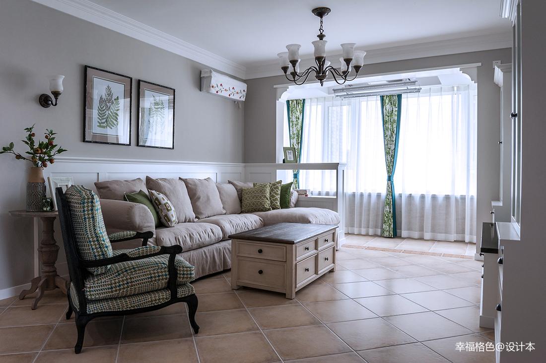 华丽88平田园三居客厅设计案例