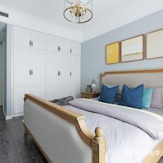 简洁105平美式三居卧室案例图