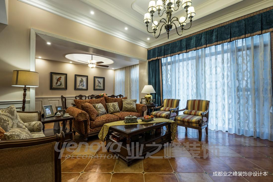 温馨79平美式复式客厅布置图