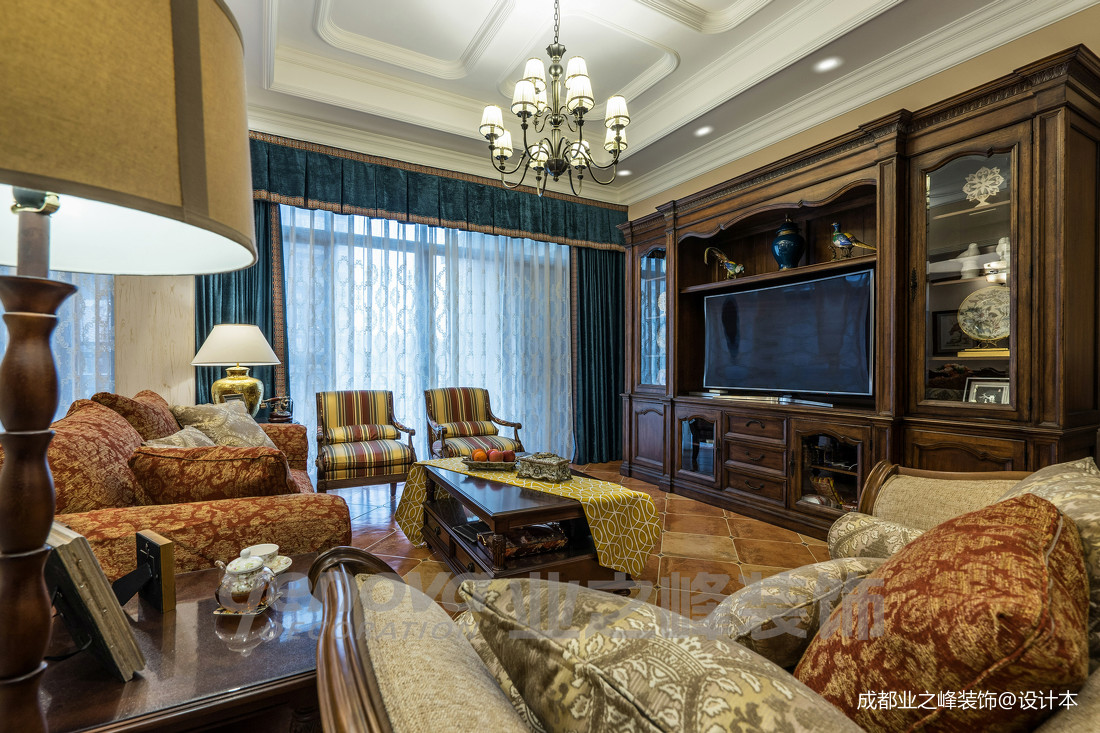 温馨80平美式复式客厅装修案例