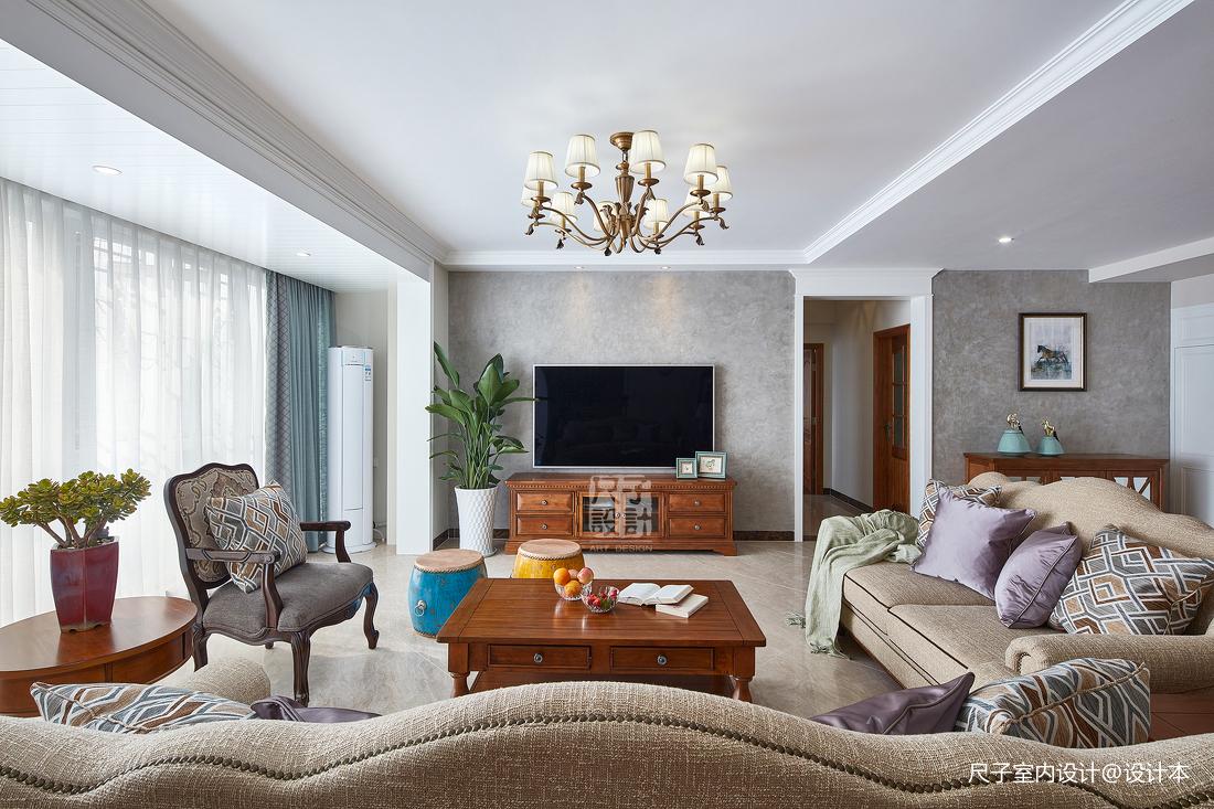 留香岁月美式复式客厅实景图