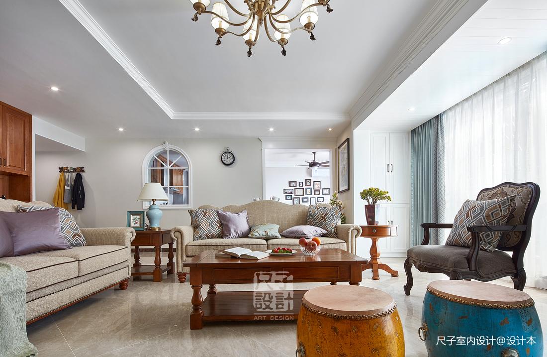 留香岁月美式复式客厅装修设计图