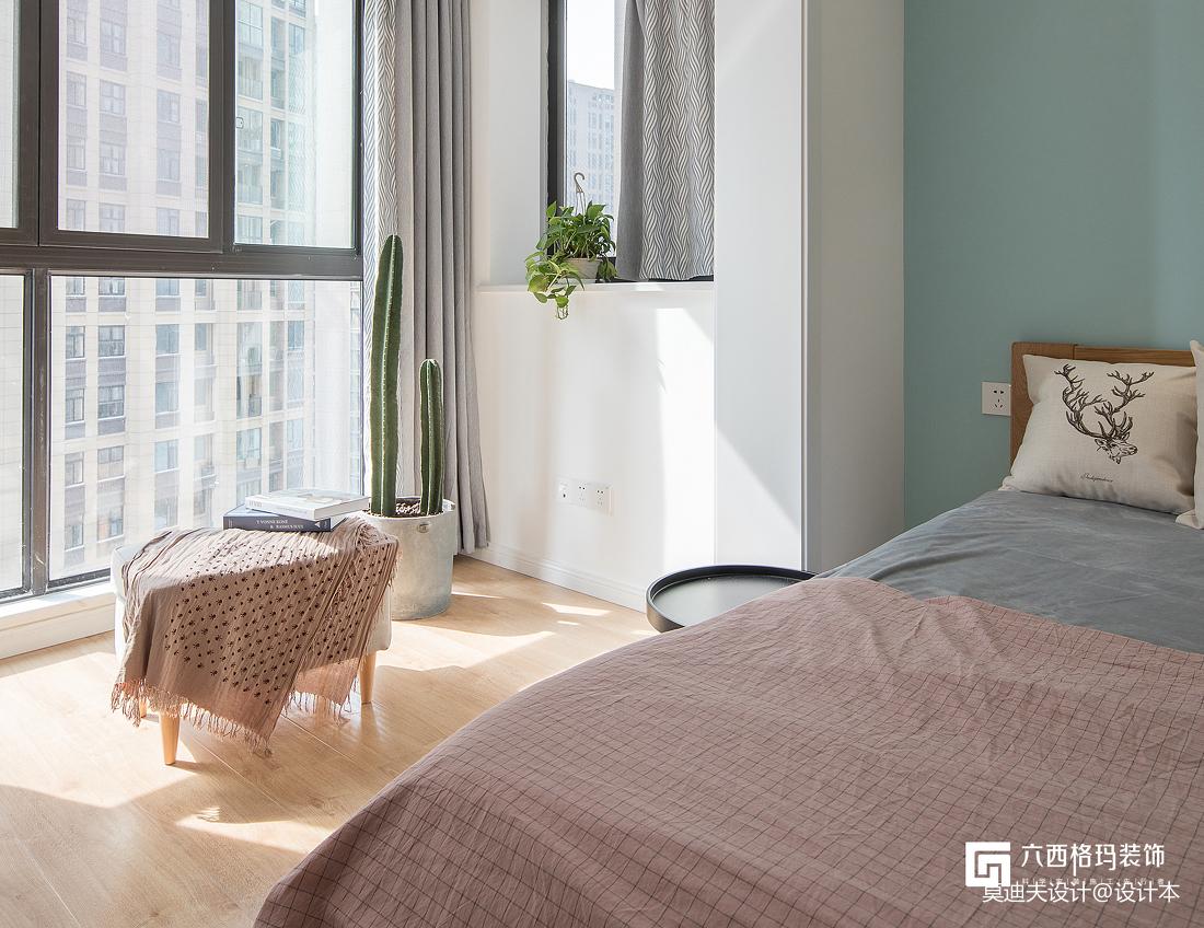 淡蓝色北欧卧室设计图