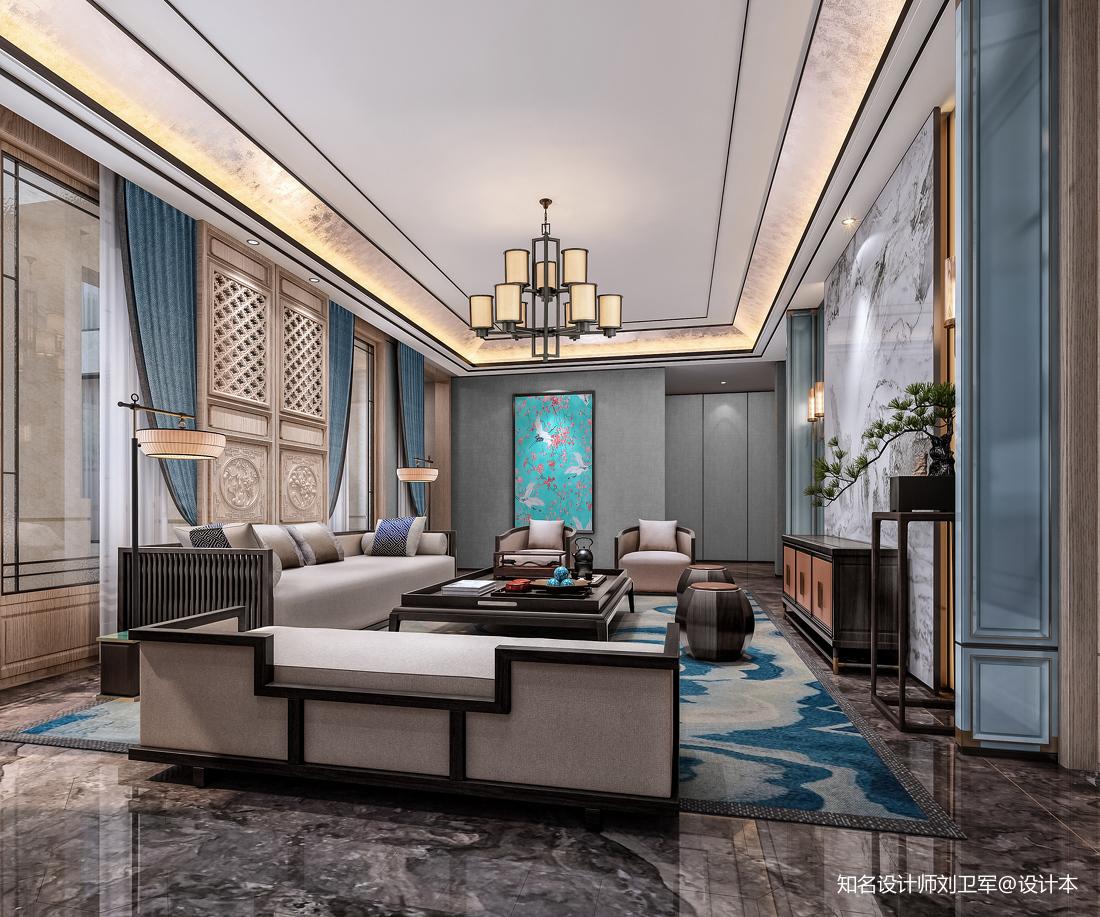 中式客廳沙發擺放效果圖