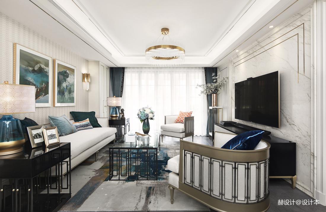 典雅92平美式三居客厅装修设计图