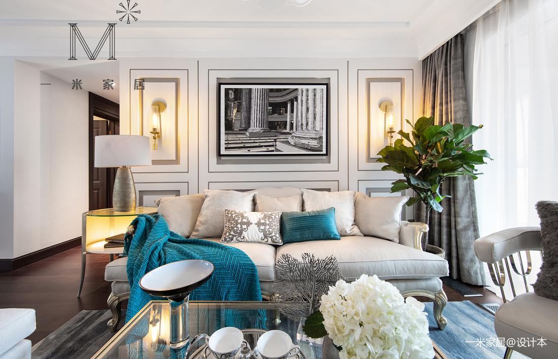 悠雅76平美式三居客厅装饰图