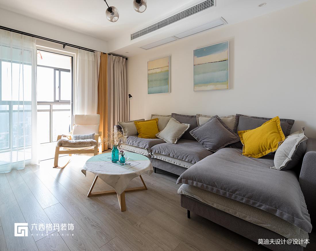 二居住宅空间北欧风简约干爽客厅装饰设计图