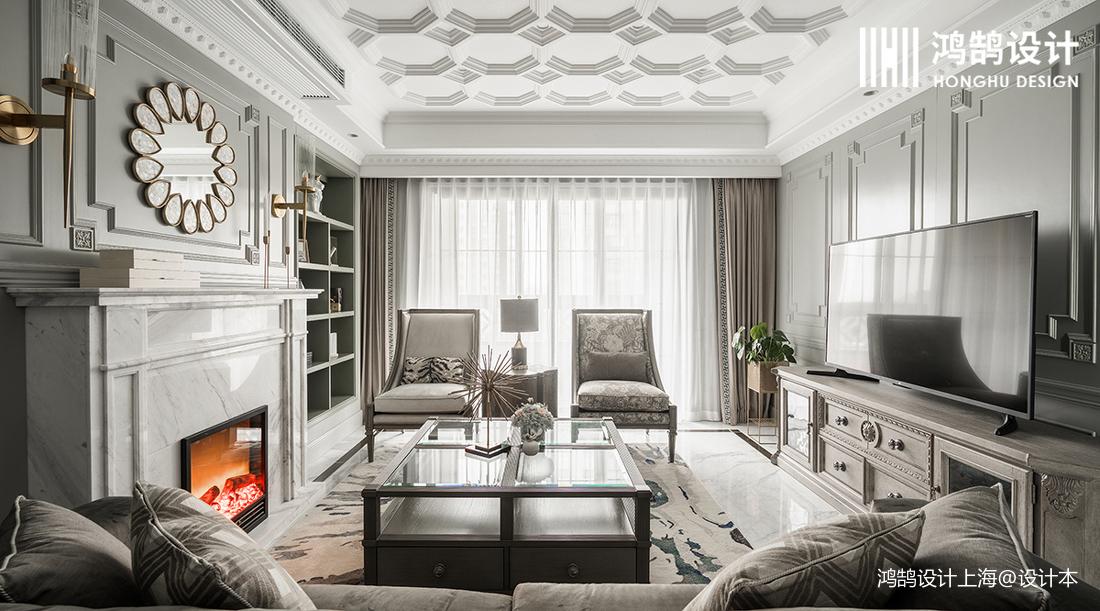 温馨104平法式四居客厅装修图