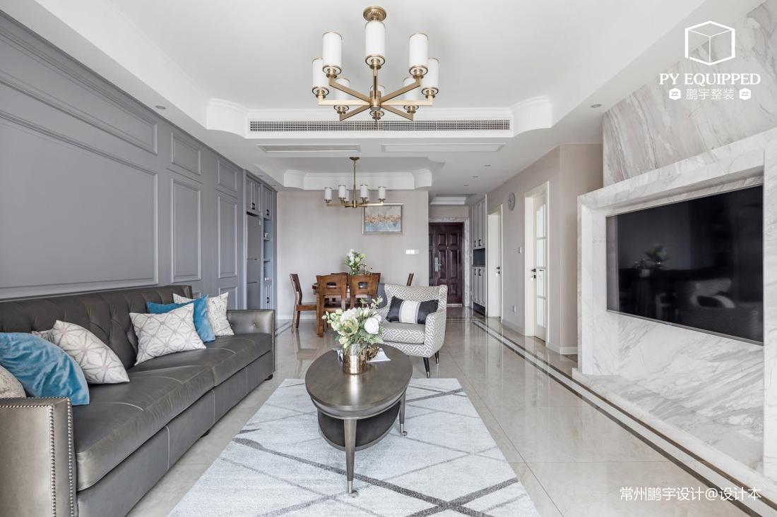 温馨82平美式三居客厅布置图