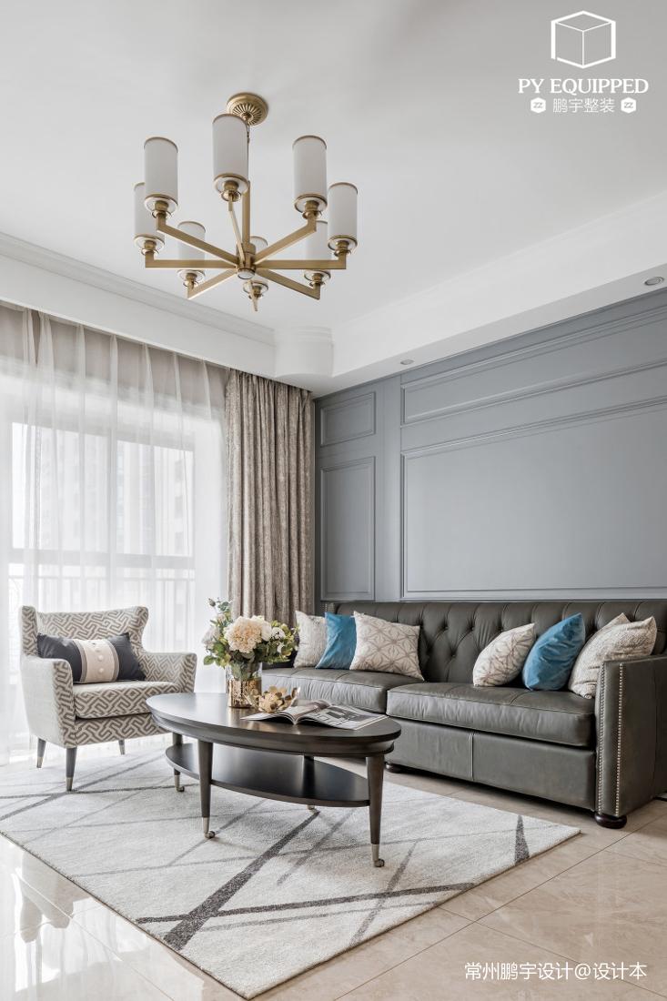 温馨78平美式三居客厅设计效果图
