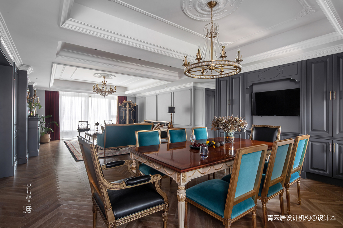 温馨151平法式四居餐厅装修图